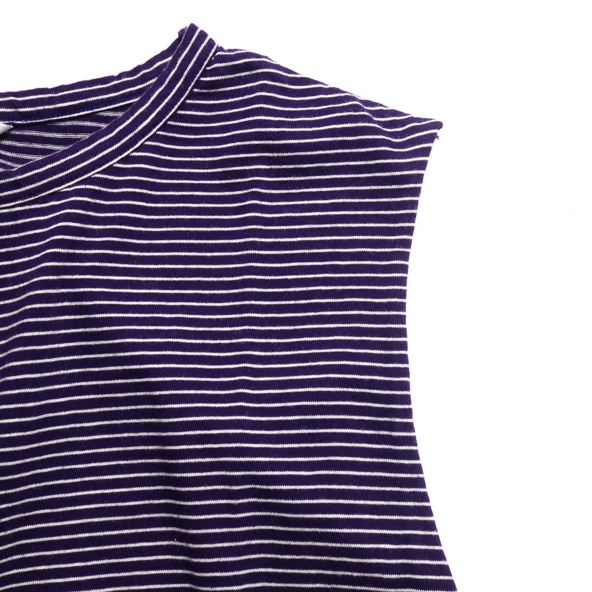 UNUSED / US1568 Border No Sleeve Tee (Purple×White) ノースリーブ