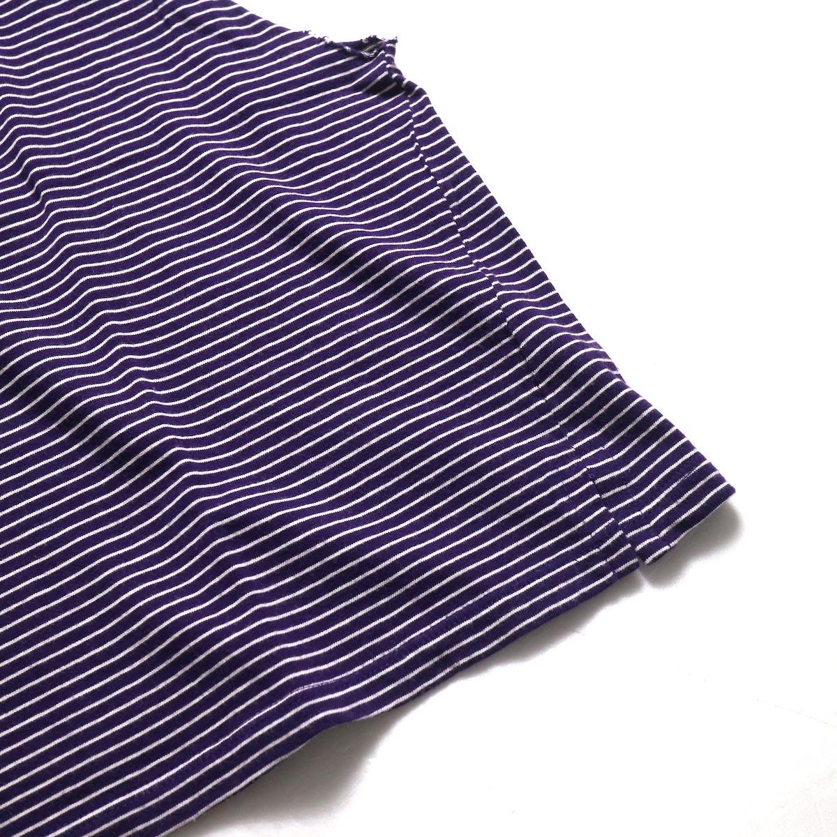UNUSED / US1568 Border No Sleeve Tee (Purple×White) 裾