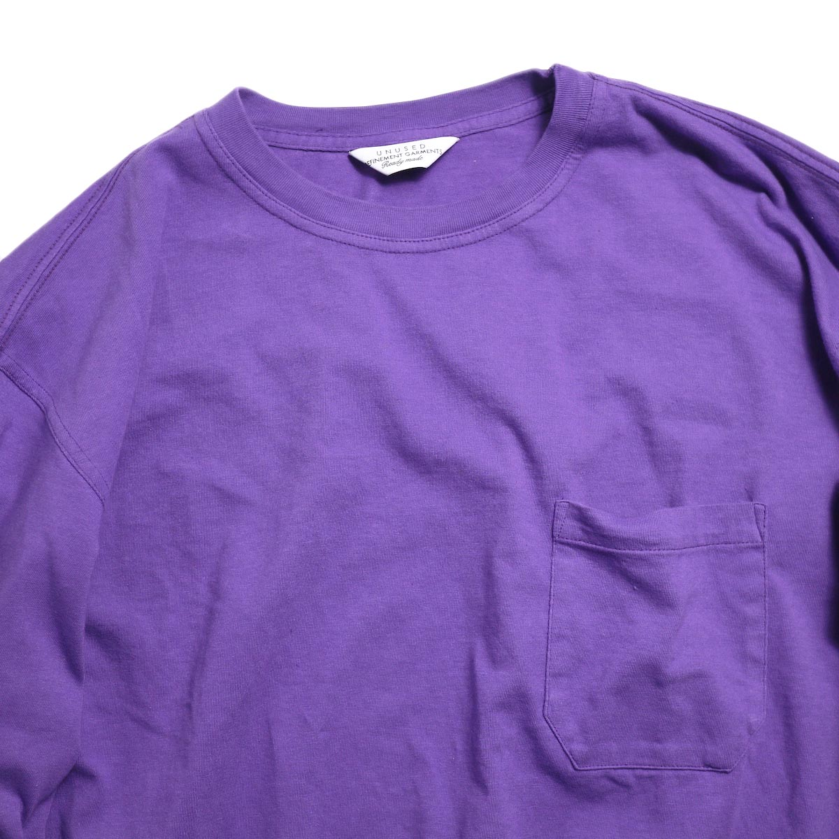 UNUSED / US1595 Long Sleeve Pocket T-Shirt -Purple 首回り