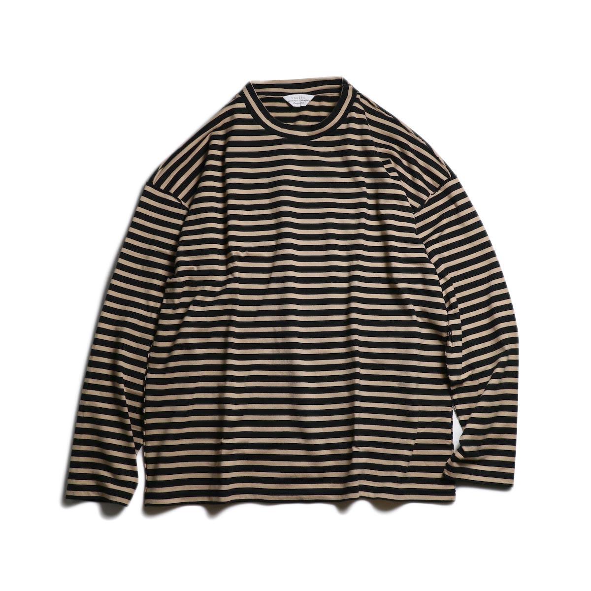 UNUSED / US1682 Long Sleeve Border T-Shirt -Beige/Black 正面