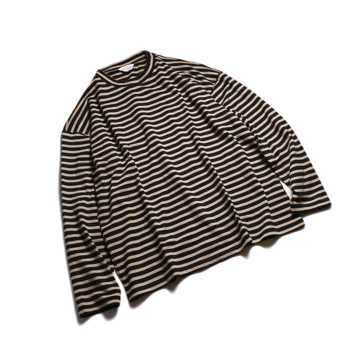 UNUSED / US1682 Long Sleeve Border T-Shirt -Beige/Black 全体