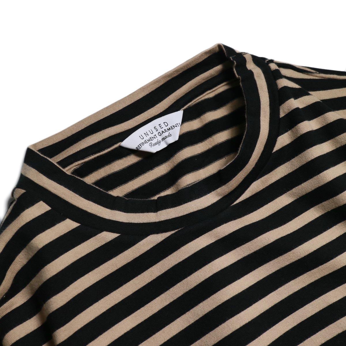 UNUSED / US1682 Long Sleeve Border T-Shirt -Beige/Black 襟