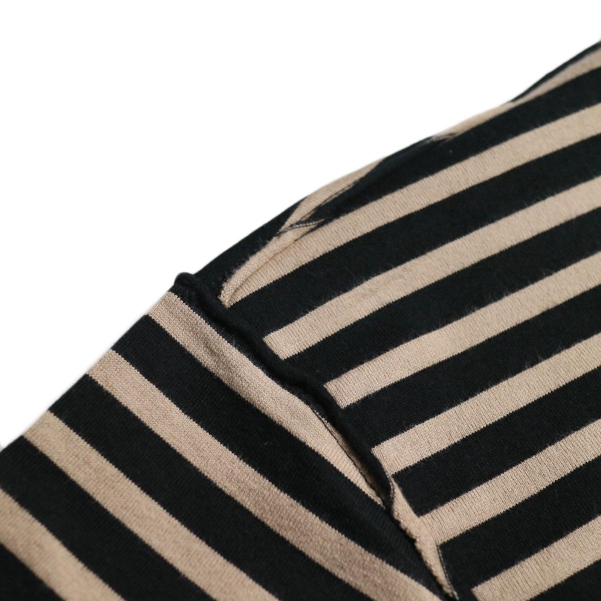 UNUSED / US1682 Long Sleeve Border T-Shirt -Beige/Black インサイドアウト