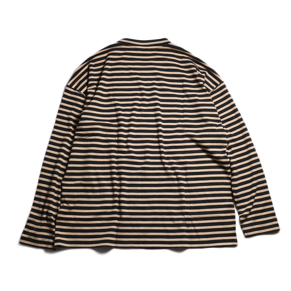 UNUSED / US1682 Long Sleeve Border T-Shirt -Beige/Black 背面