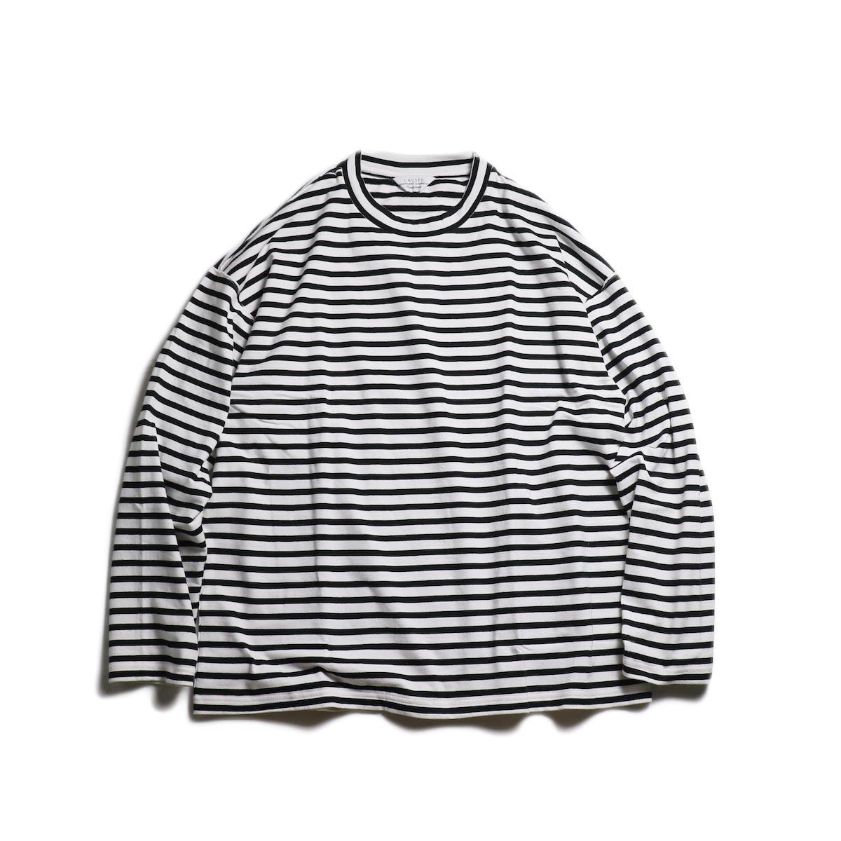 UNUSED / US1682 Long Sleeve Border T-Shirt -White/Black 正面