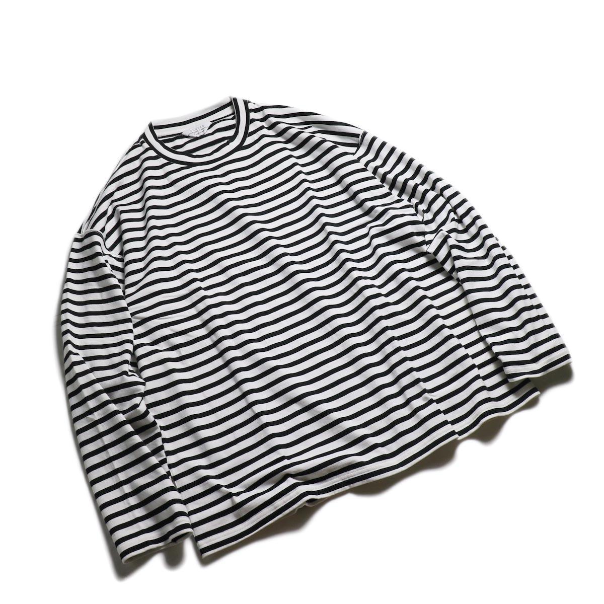 UNUSED / US1682 Long Sleeve Border T-Shirt -White/Black 全体