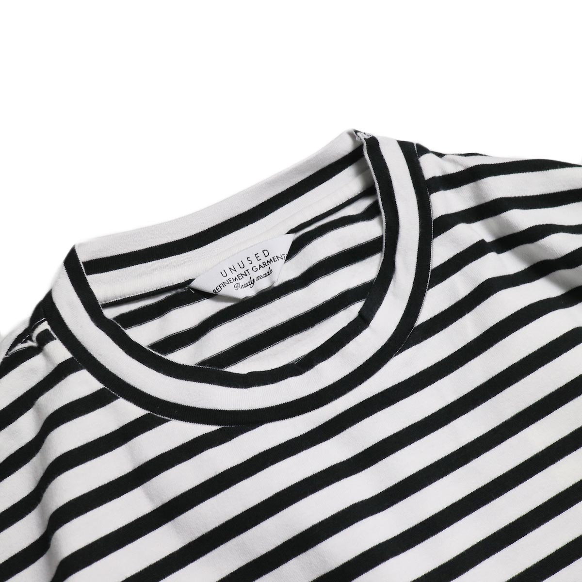 UNUSED / US1682 Long Sleeve Border T-Shirt -White/Black 襟