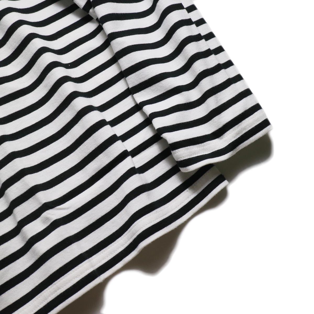 UNUSED / US1682 Long Sleeve Border T-Shirt -White/Black 袖