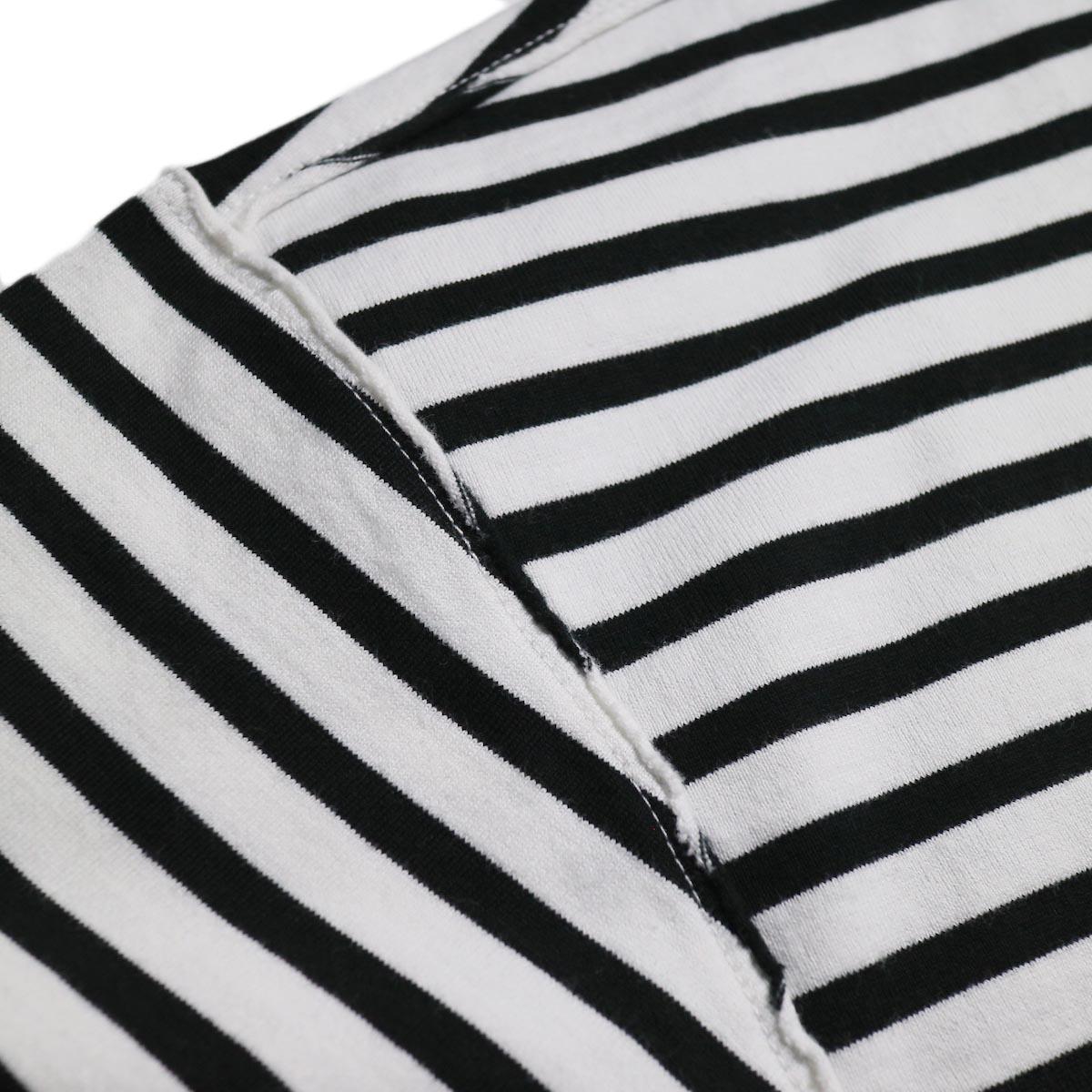 UNUSED / US1682 Long Sleeve Border T-Shirt -White/Black インサイドアウト