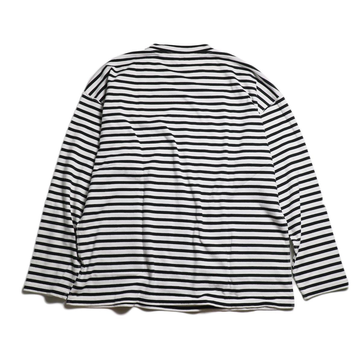 UNUSED / US1682 Long Sleeve Border T-Shirt -White/Black 背面