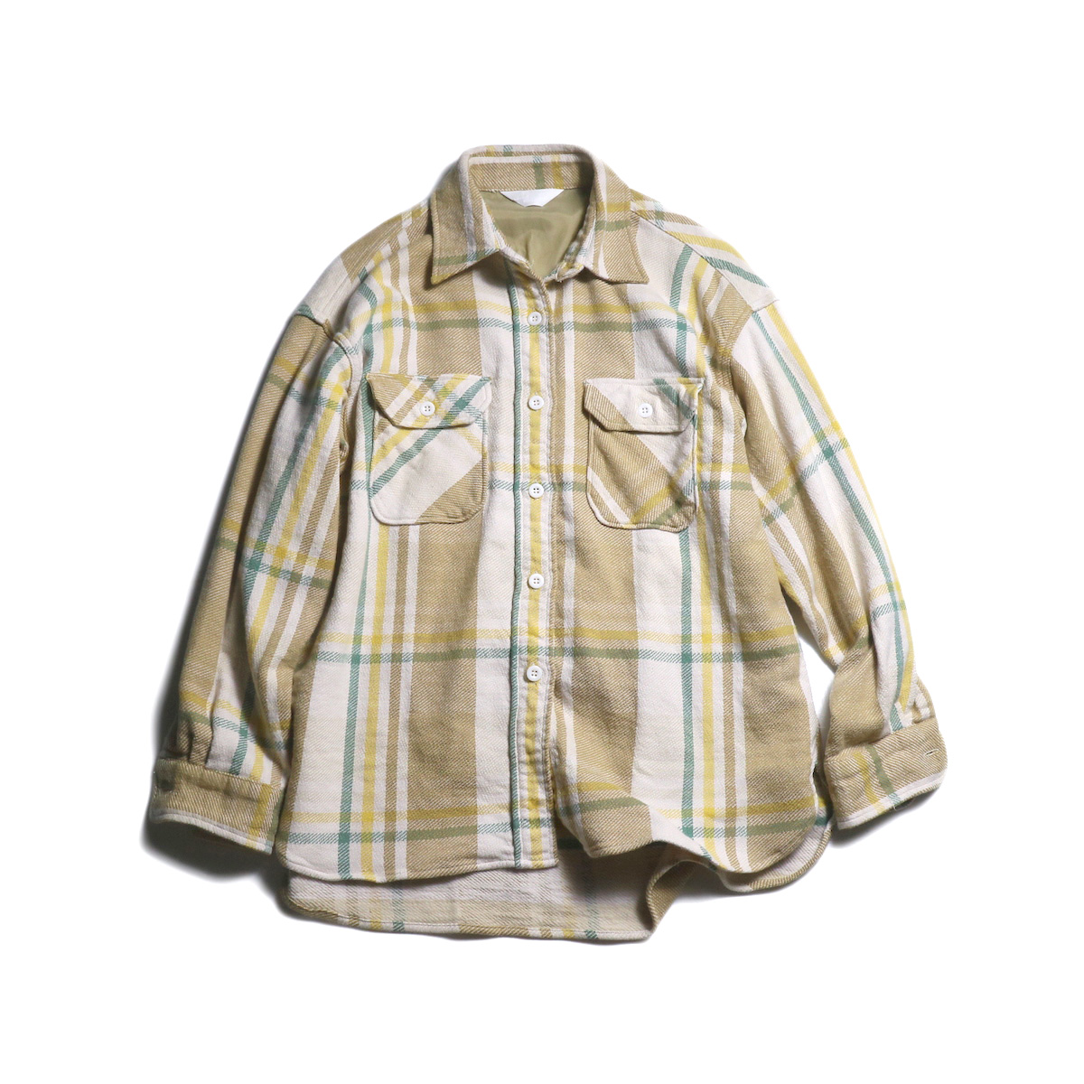 UNUSED / US1699 Check Flannel Shirt (Beige)
