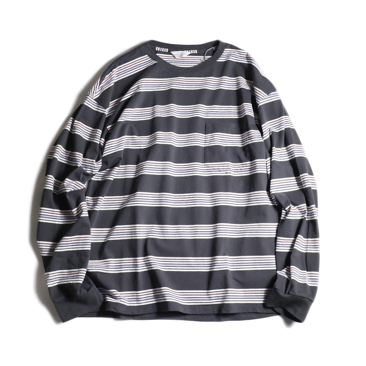 UNUSED / US1726 long sleeve border t-shirts (Charcoal Gray)