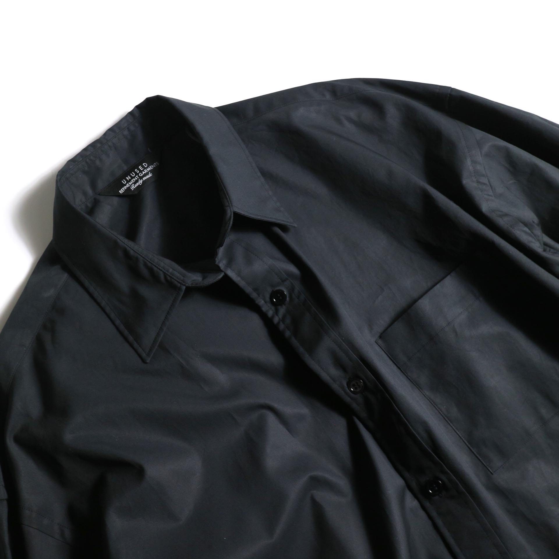 UNUSED / US1743 Slit Shit (Black) 襟