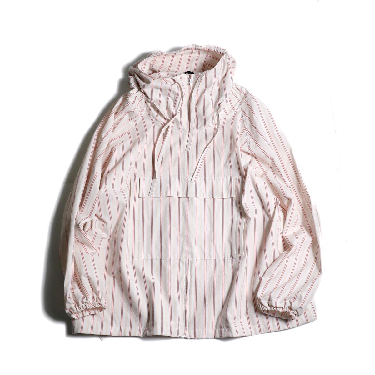 (Ladie's) UNUSED / US1794 Stripe Pullover Jacket. (magenta stripe)