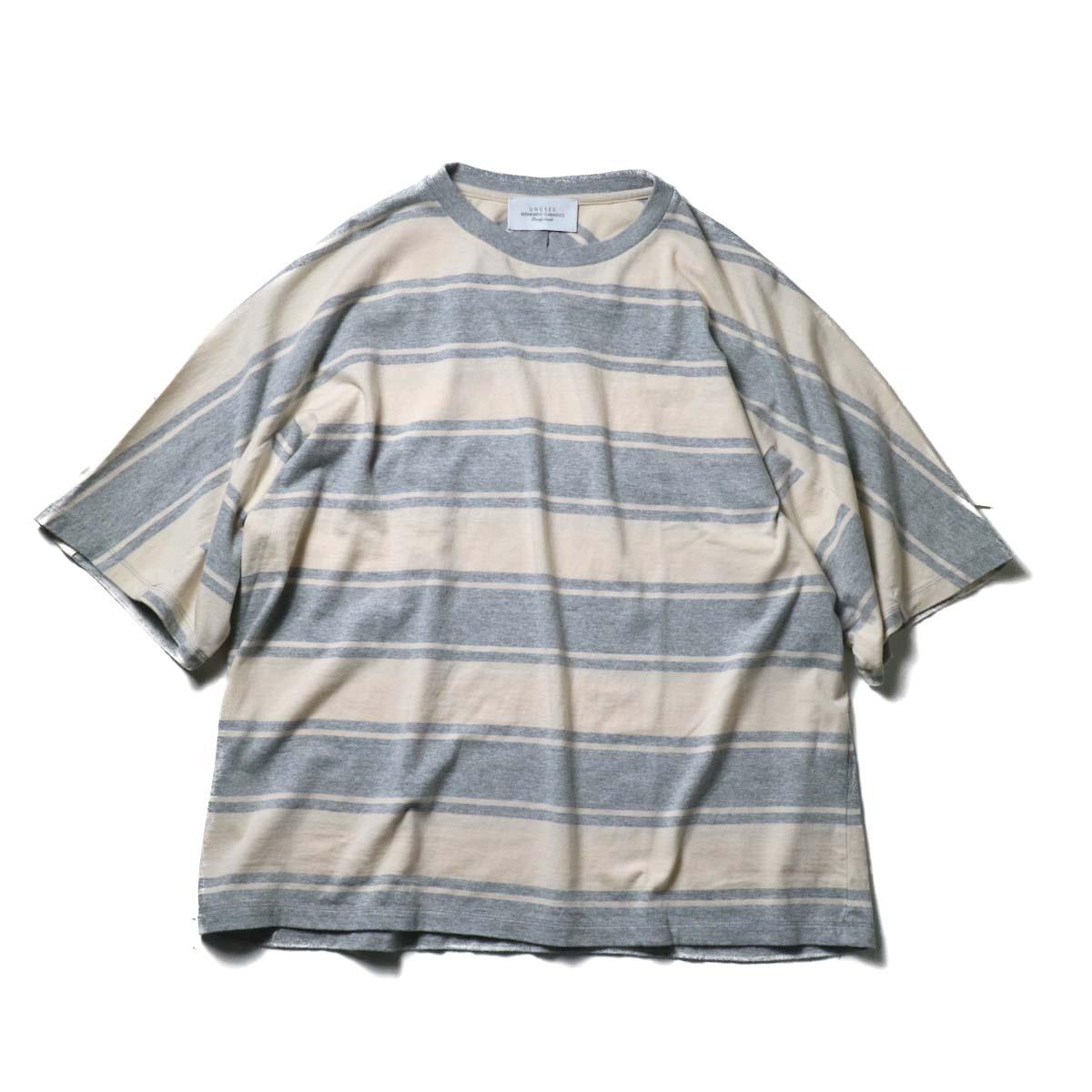 UNUSED / US1951 Dolman sleeve Short sleeve t-shirt (Gray × Beige)正面