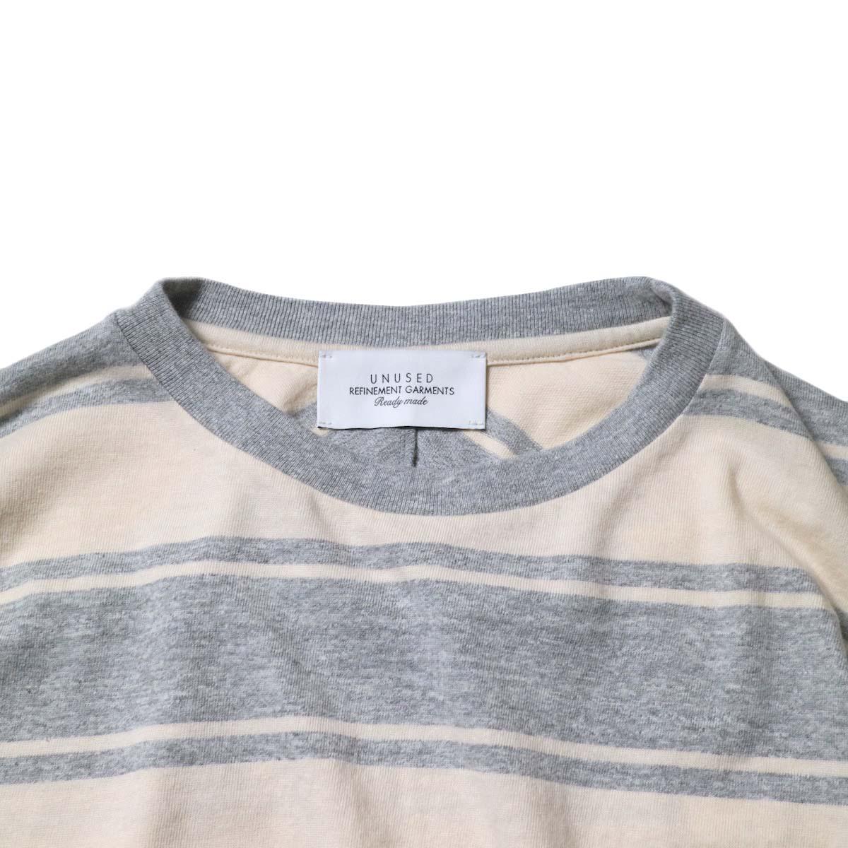UNUSED / US1951 Dolman sleeve Short sleeve t-shirt (Gray × Beige)ネック