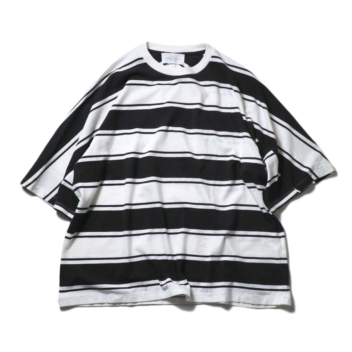 UNUSED / US2021 Short sleeve print border t-shirt (L.Gray × Purple)