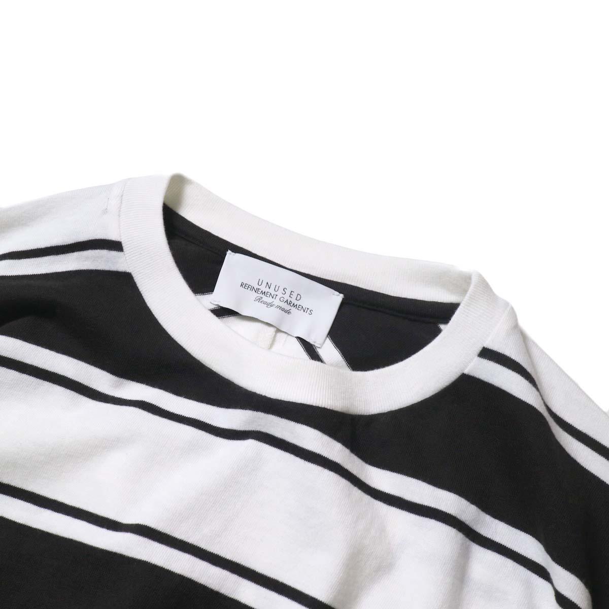 UNUSED / US1951 Dolman sleeve Short sleeve t-shirt (White×Black)ネック
