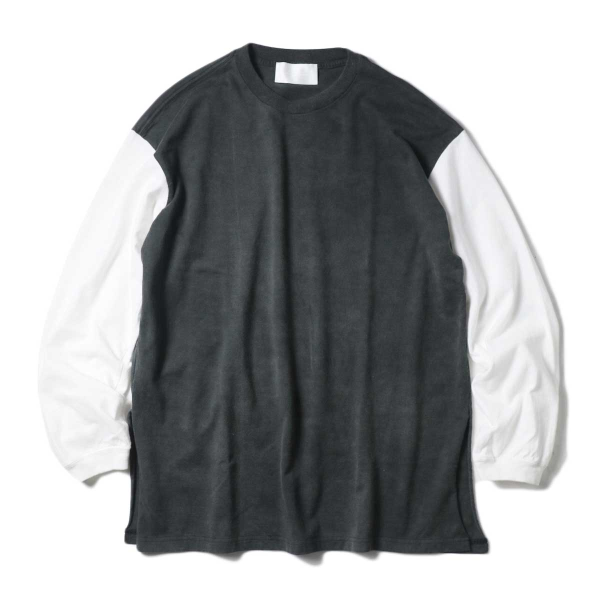 UNUSED / US1957 Long  sleeve t-shirt. (Black×White)