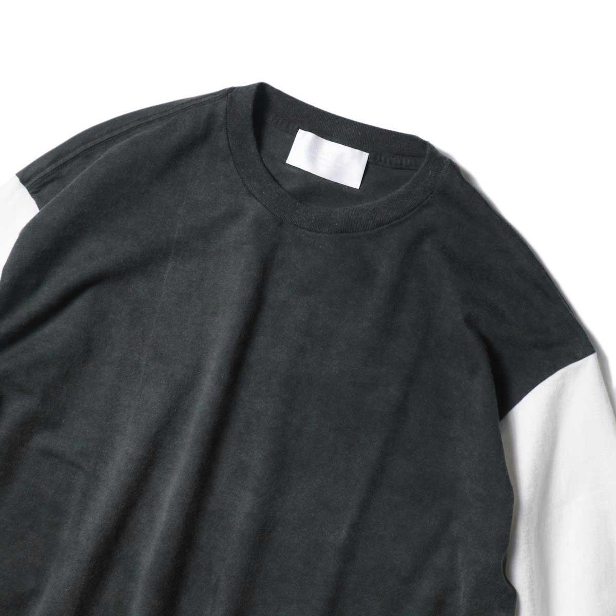 UNUSED / US1957 Long  sleeve t-shirt. (Black×White)ネック