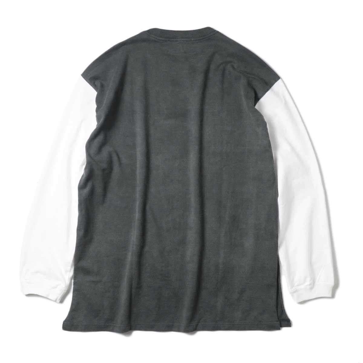 UNUSED / US1957 Long  sleeve t-shirt. (Black×White) 背面