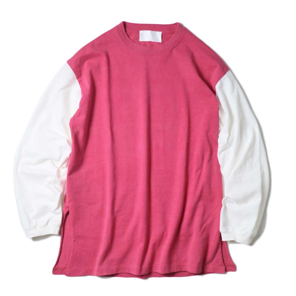 UNUSED / US1957 Long sleeve t-shirt. (Red×White)