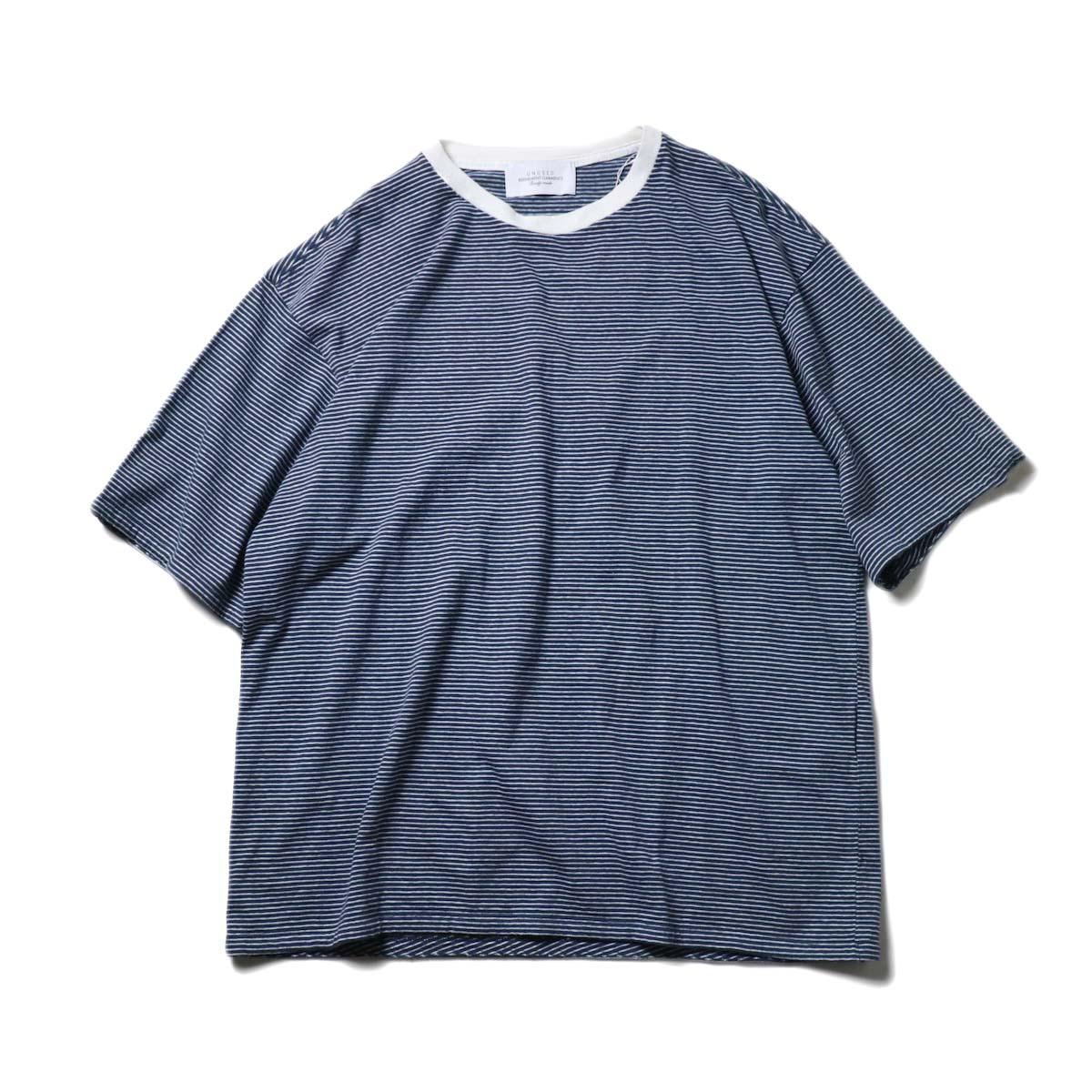 UNUSED / US1963 Short sleeve border t-shirt. (Navy × White)