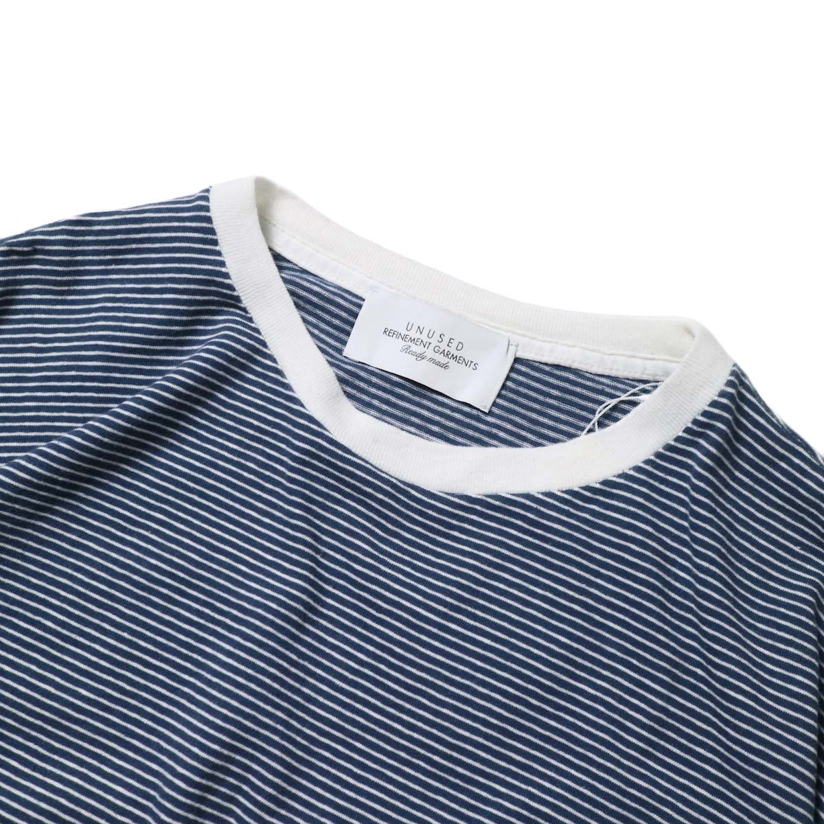 UNUSED / US1963 Short sleeve border t-shirt. (Navy × White)ネック