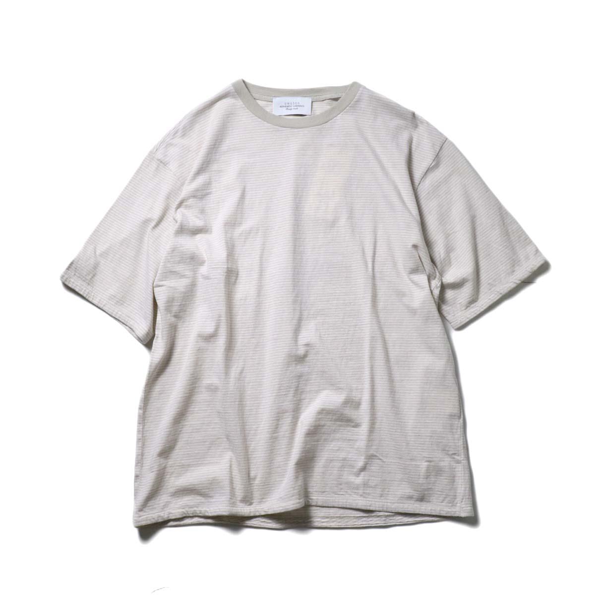 UNUSED / US1963 Short sleeve border t-shirt. (Pink × Beige)正面