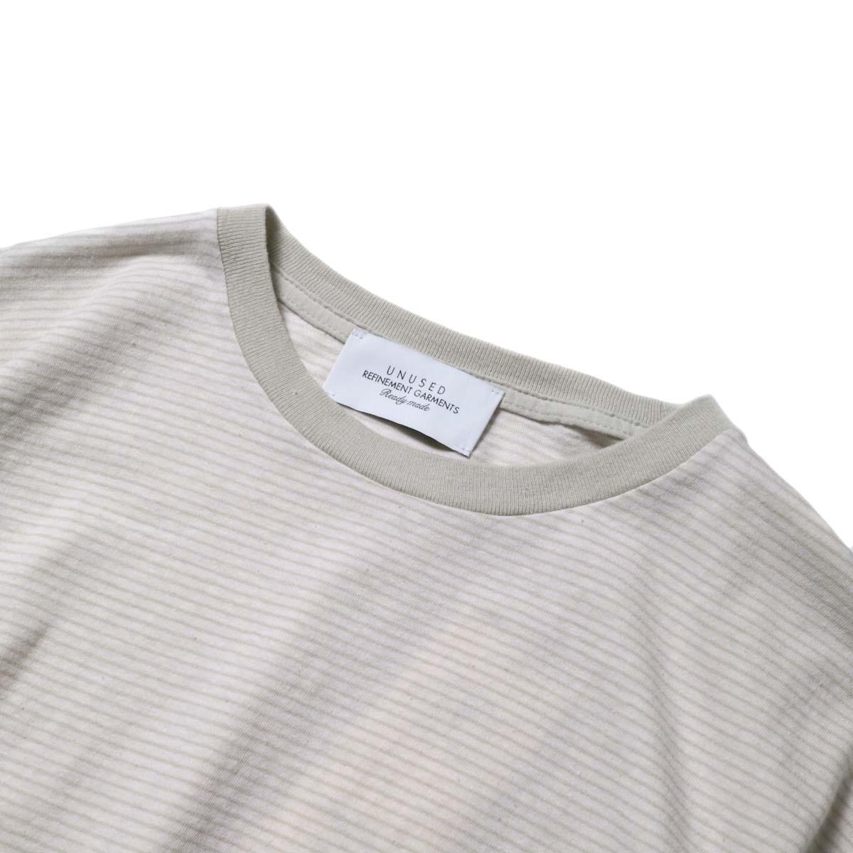 UNUSED / US1963 Short sleeve border t-shirt. (Pink × Beige)ネック