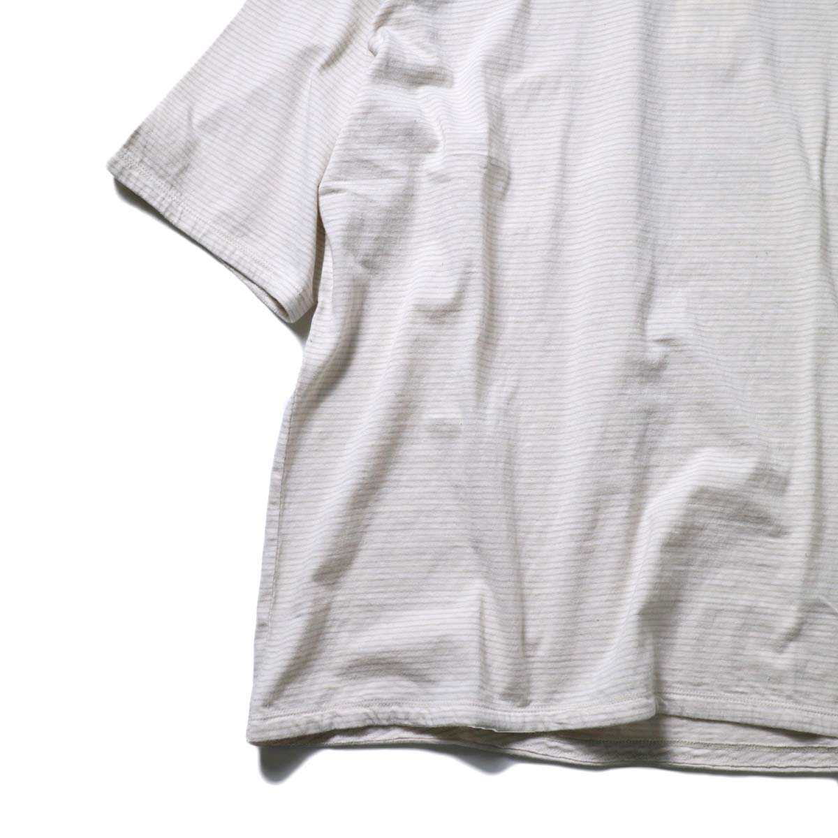 UNUSED / US1963 Short sleeve border t-shirt. (Pink × Beige)袖、裾