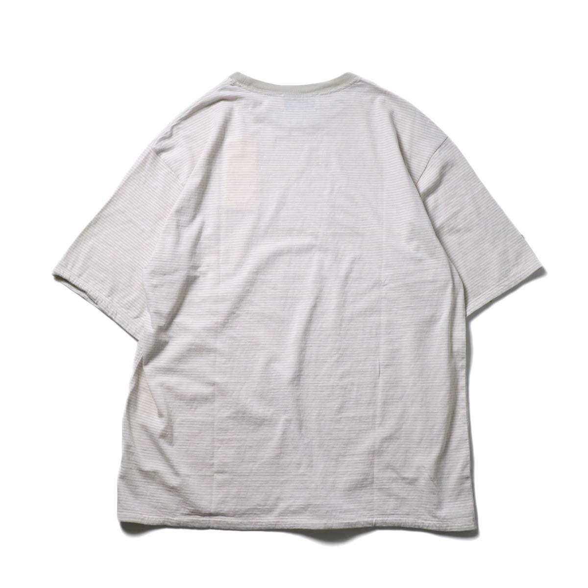 UNUSED / US1963 Short sleeve border t-shirt. (Pink × Beige)背面