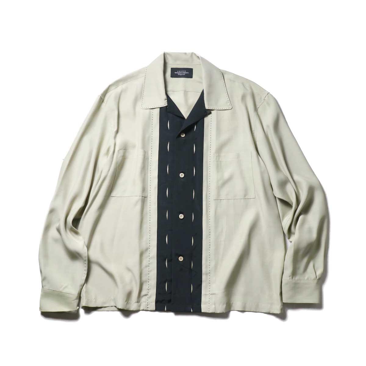 UNUSED / US1974 Rayon Shirt. (Beige)正面