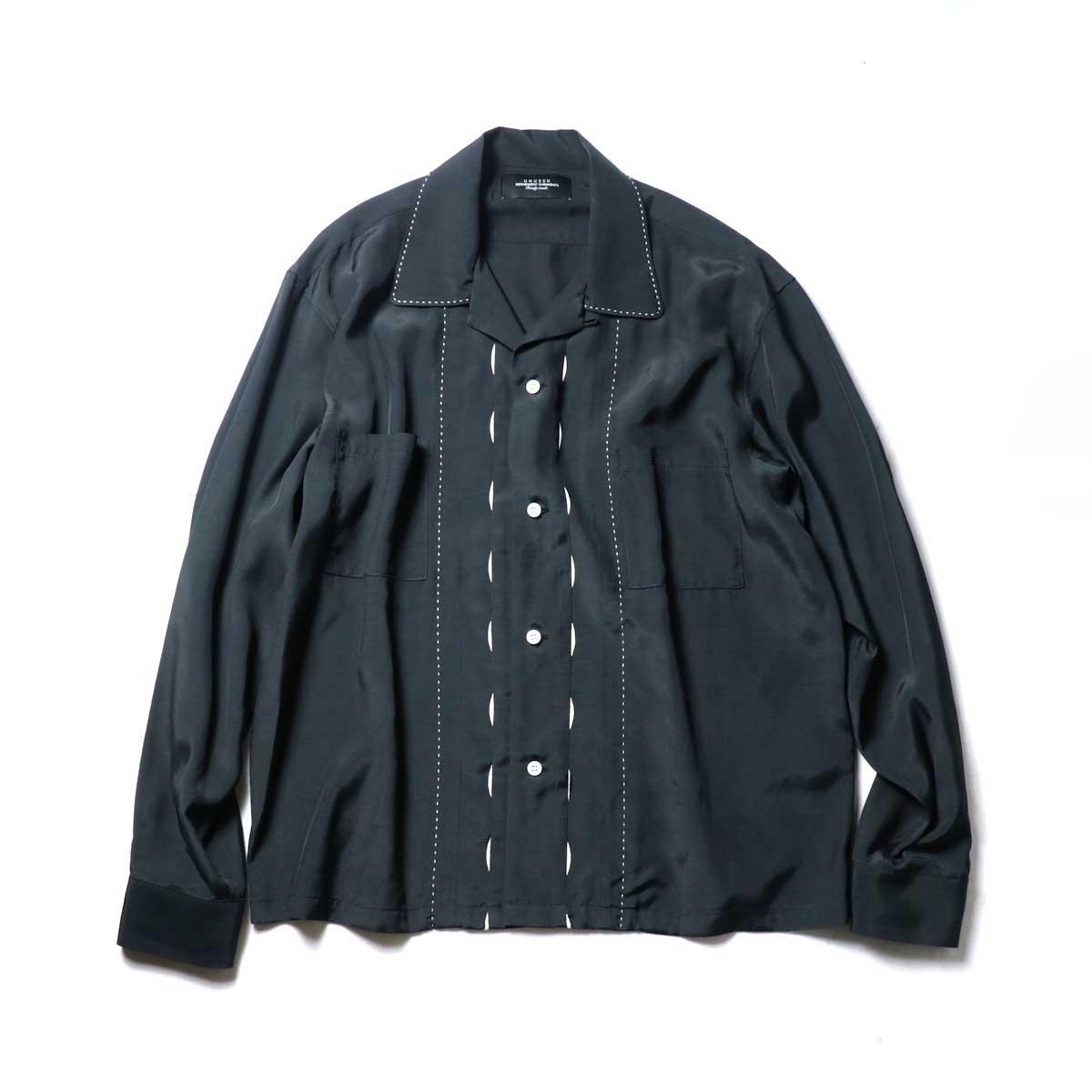 UNUSED / US1974 Rayon Shirt. (Black)正面
