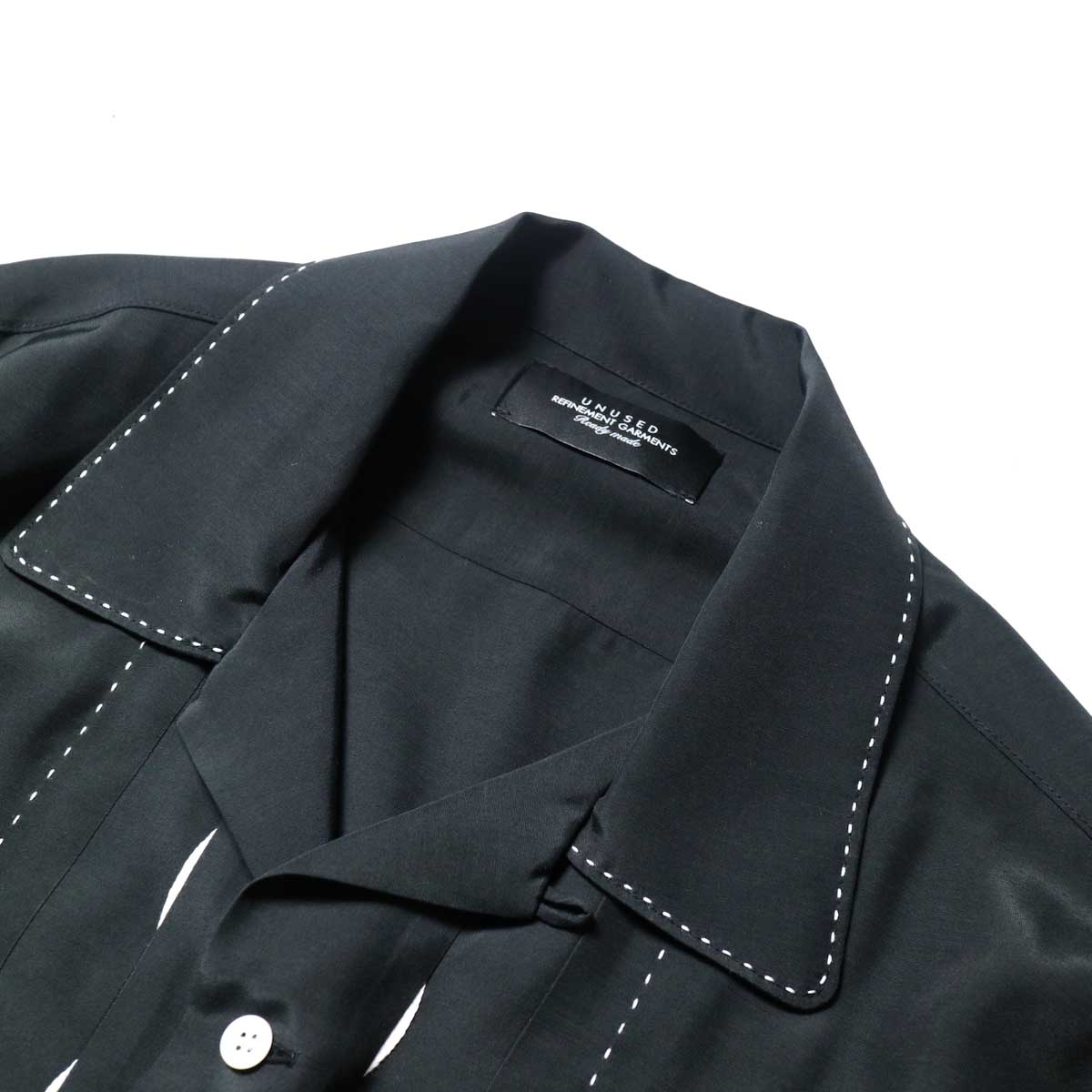 UNUSED / US1974 Rayon Shirt. (Black)オープンカラー