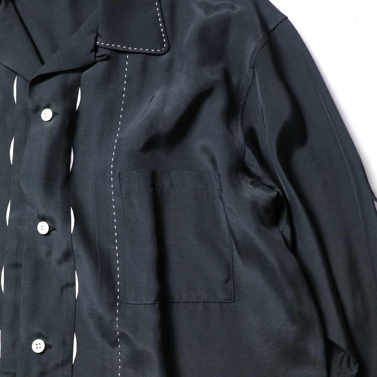 UNUSED / US1974 Rayon Shirt. (Black)装飾