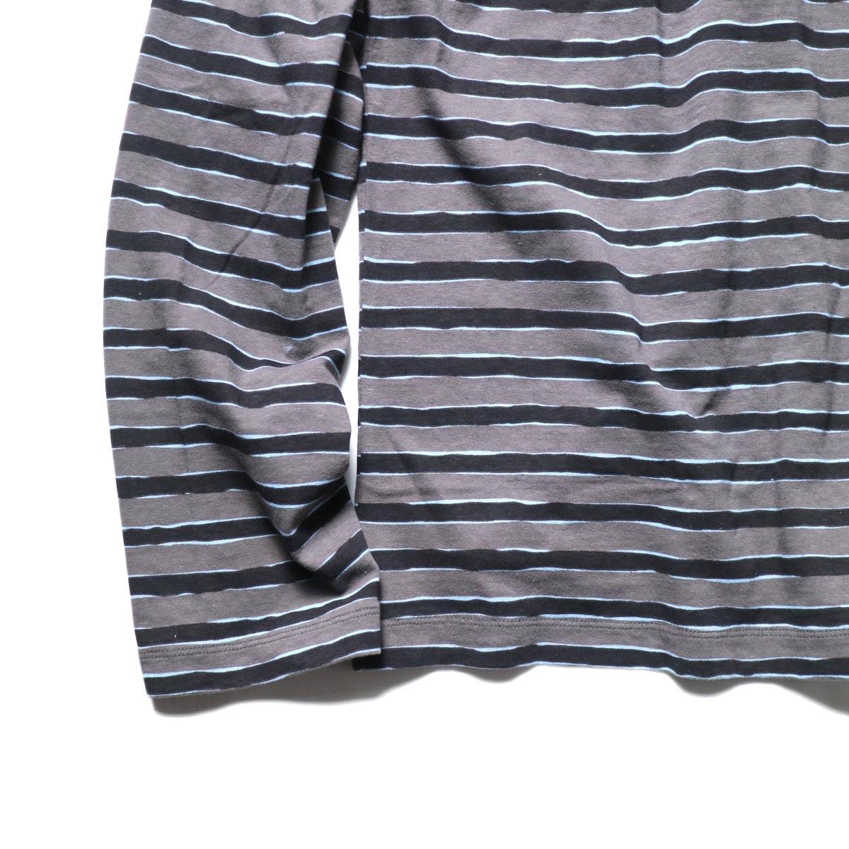 UNUSED / US2019 Border L/S Tee (Charcoal × Black)裾