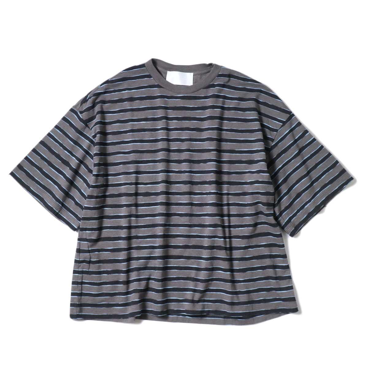 (Ladie's) UNUSED / US2022 Border S/S Tee (Charcoal × Black)