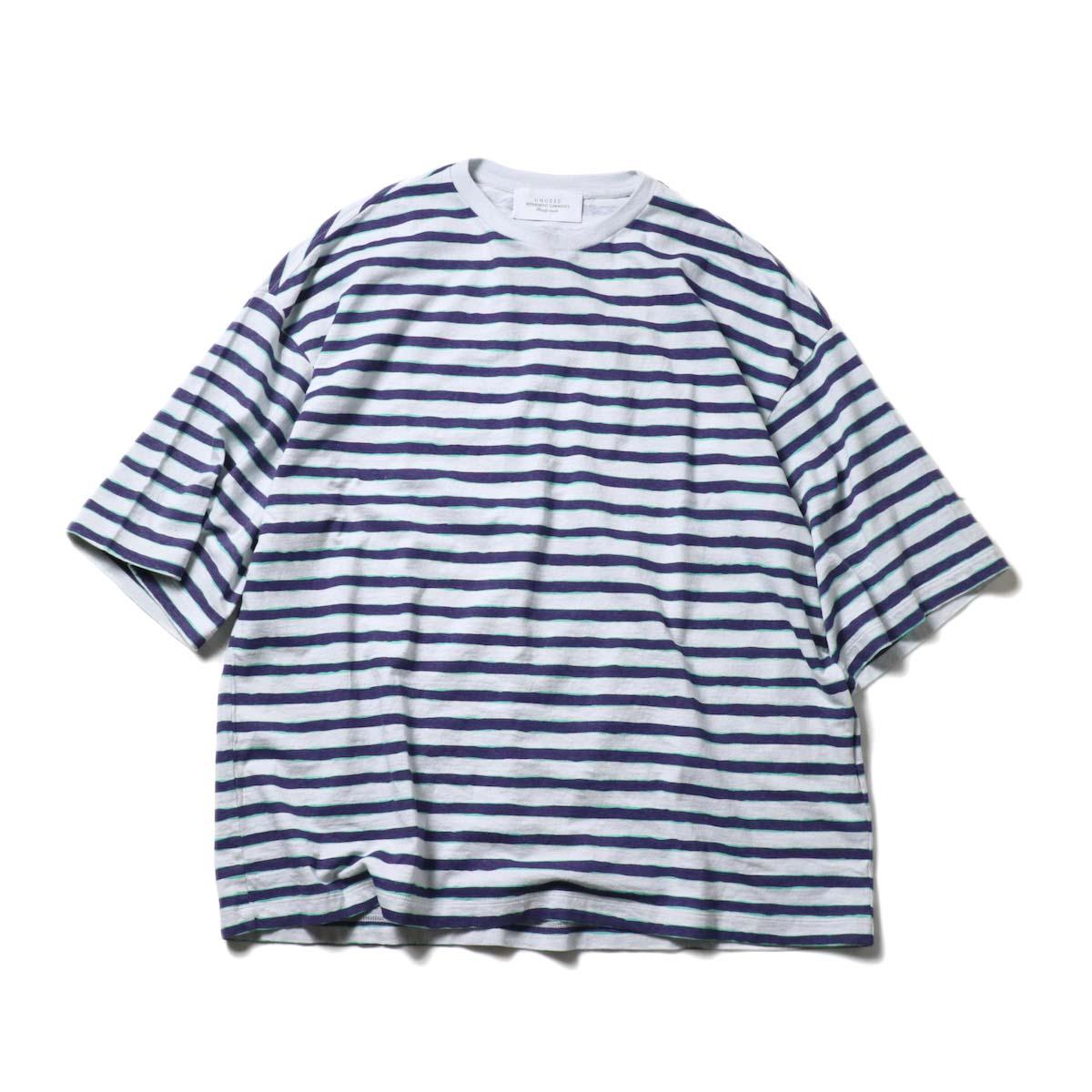 UNUSED / US2021 Short sleeve print border t-shirt (L.Gray × Purple)正面