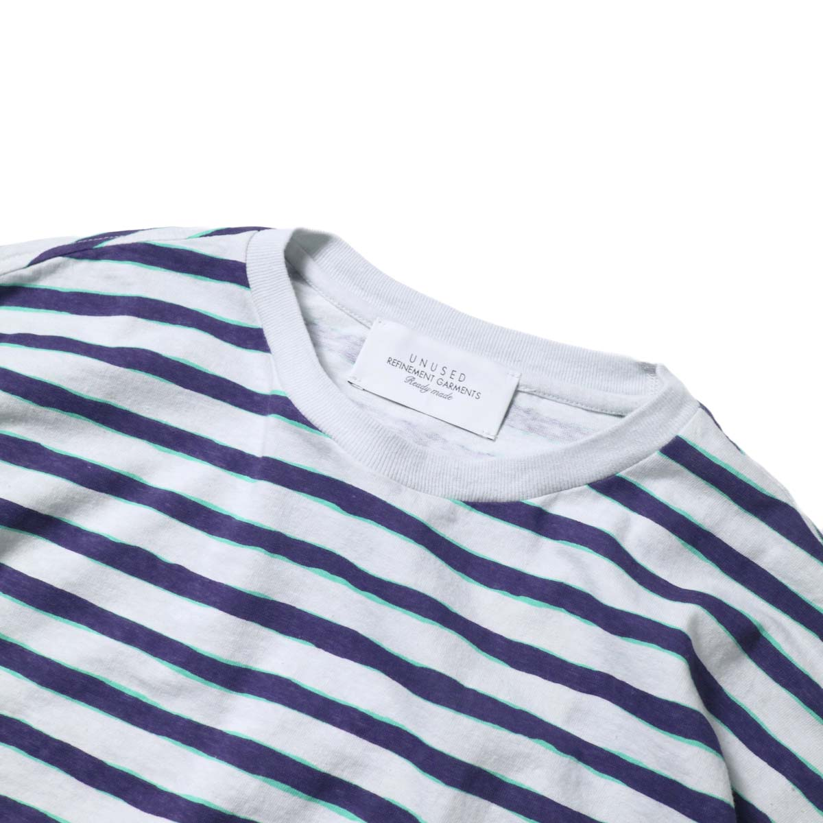 UNUSED / US2021 Short sleeve print border t-shirt (L.Gray × Purple)ネック