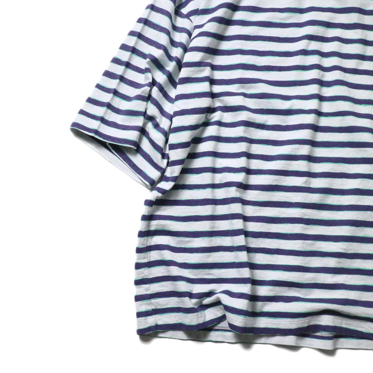 UNUSED / US2021 Short sleeve print border t-shirt (L.Gray × Purple)袖、裾