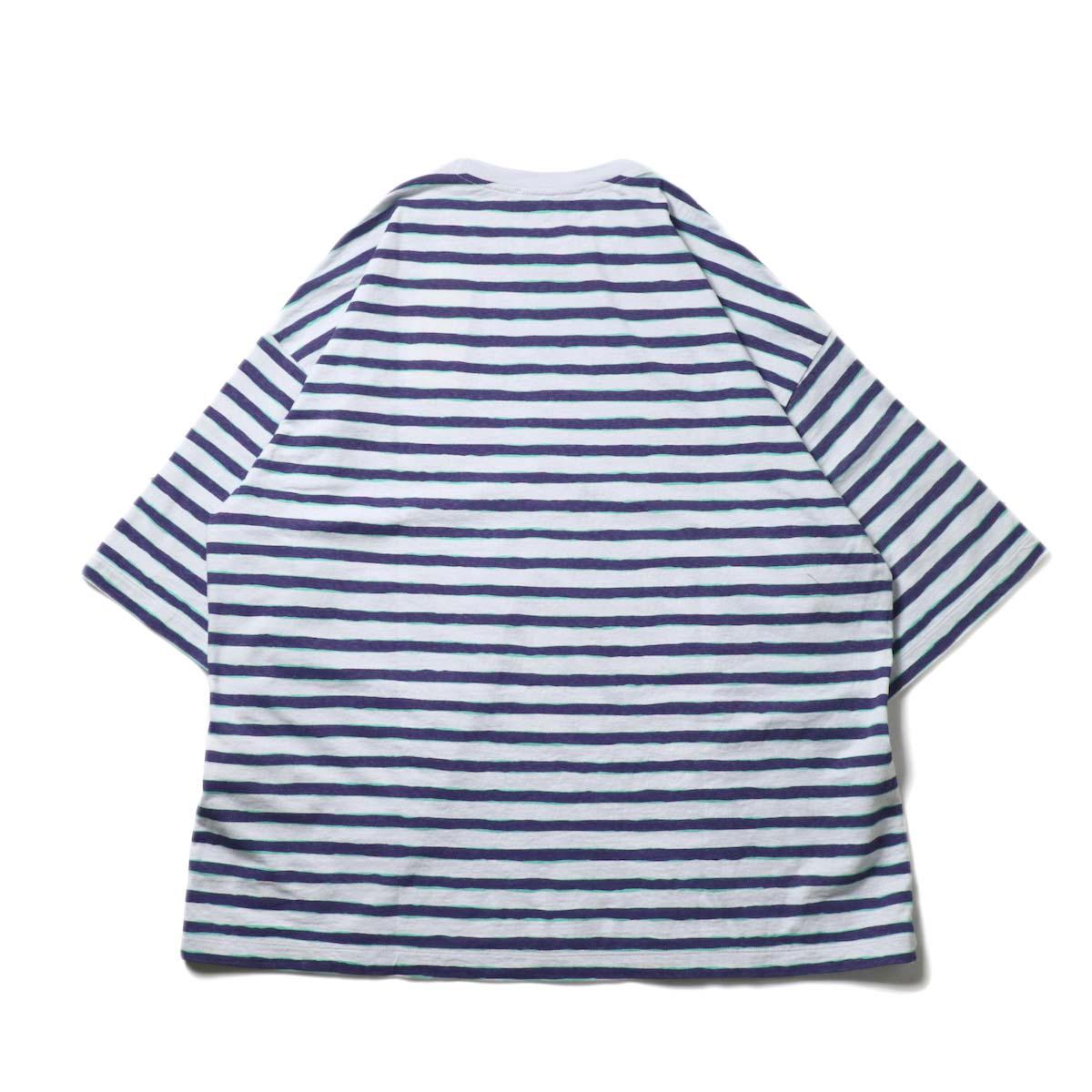 UNUSED / US2021 Short sleeve print border t-shirt (L.Gray × Purple)背面