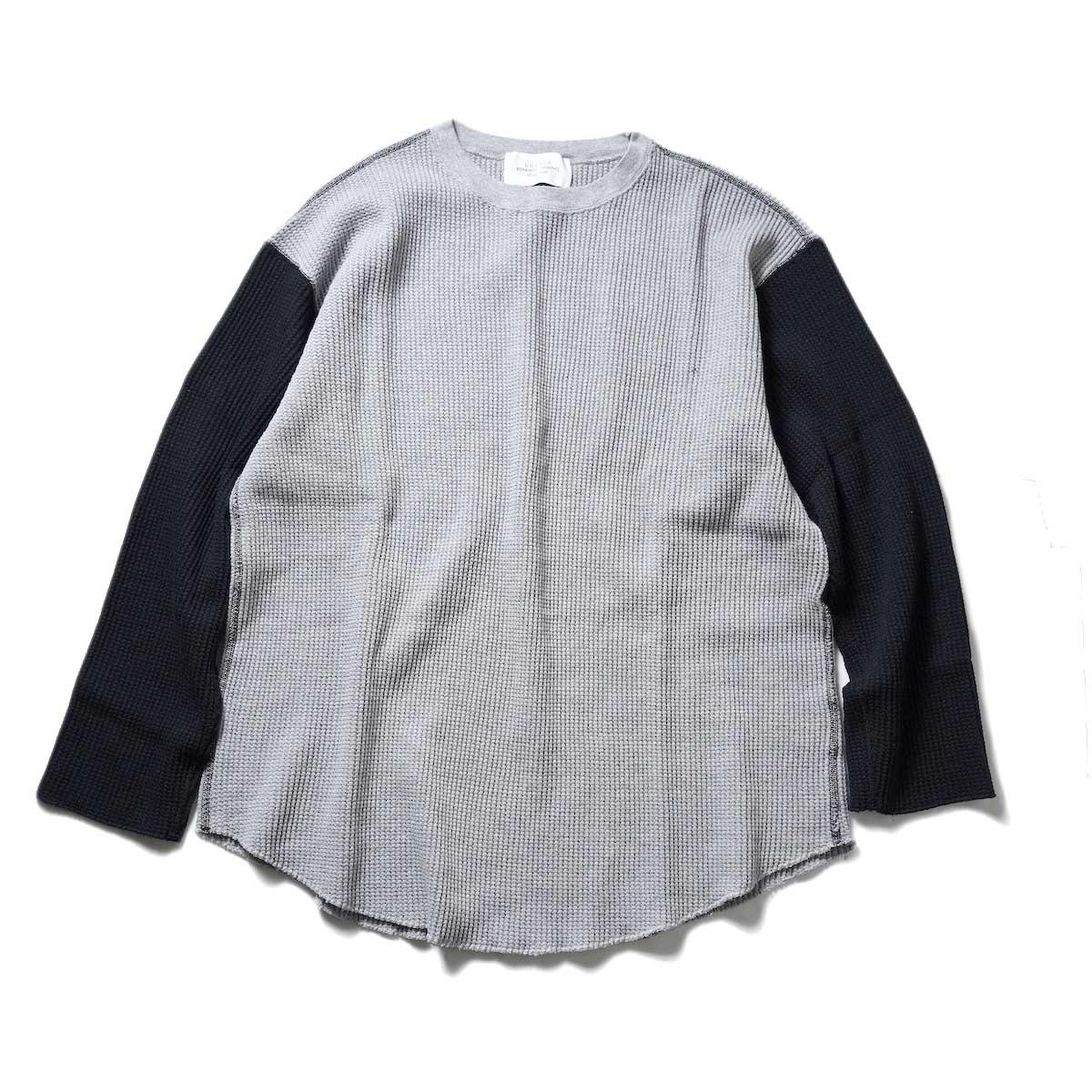 UNUSED / US2069 L/S Thermal Tee (Gray × Black)正面