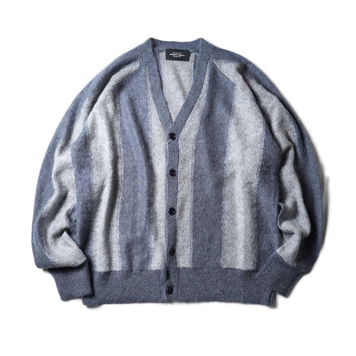 UNUSED / US2108 Stripe Cardigan (Light Gray × Charcoal)正面