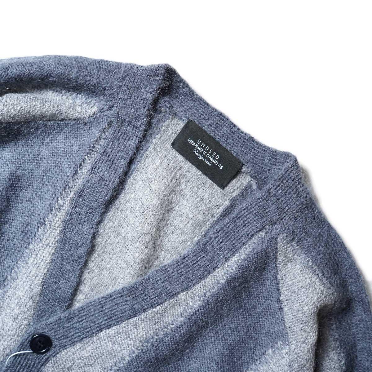 UNUSED / US2108 Stripe Cardigan (Light Gray × Charcoal)ネック