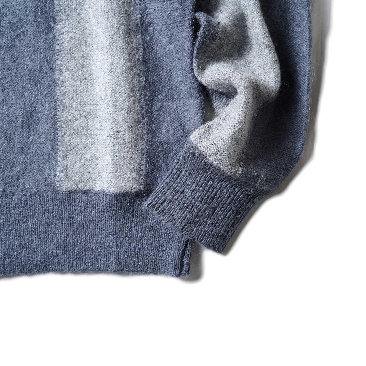 UNUSED / US2108 Stripe Cardigan (Light Gray × Charcoal)裾、袖