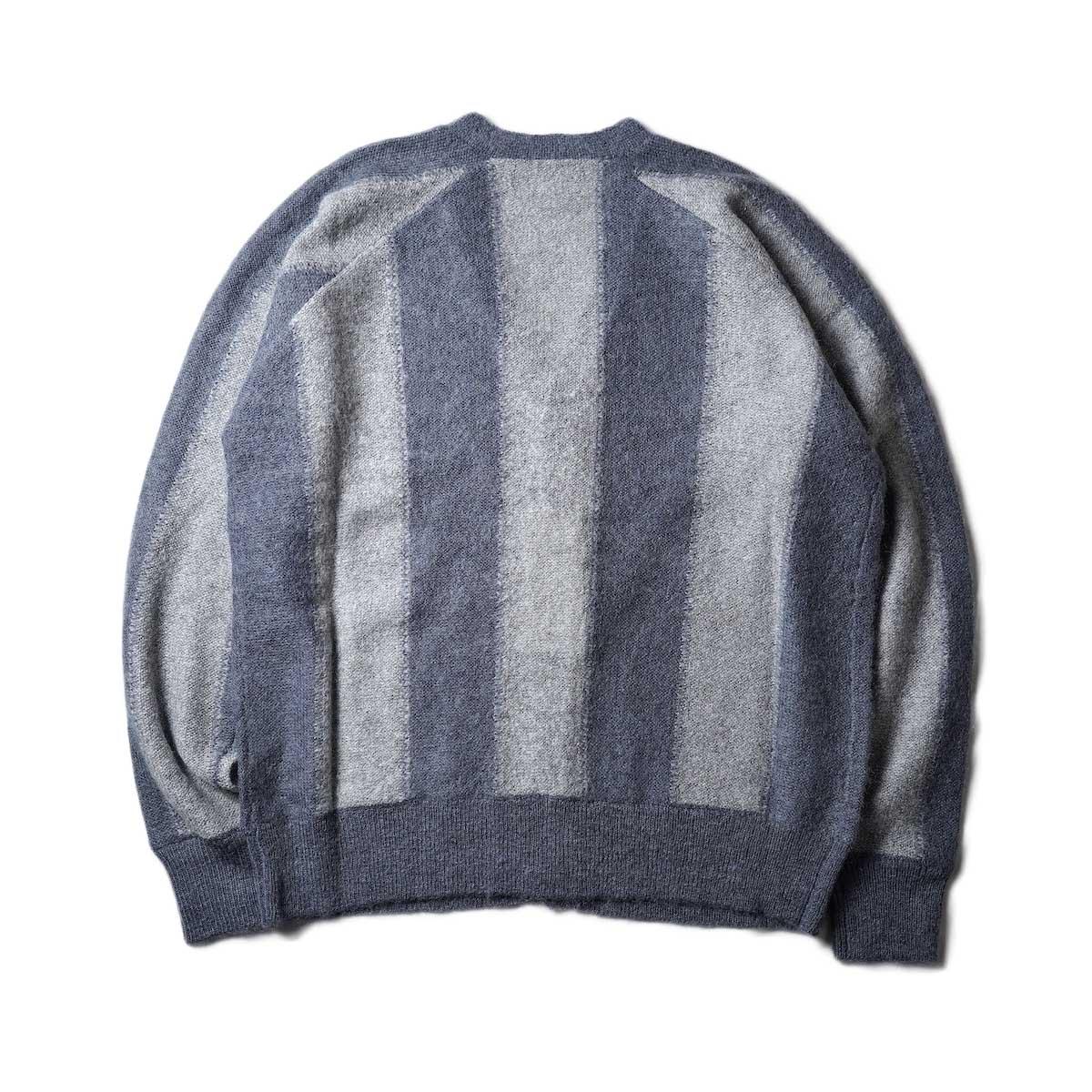 UNUSED / US2108 Stripe Cardigan (Light Gray × Charcoal)背面