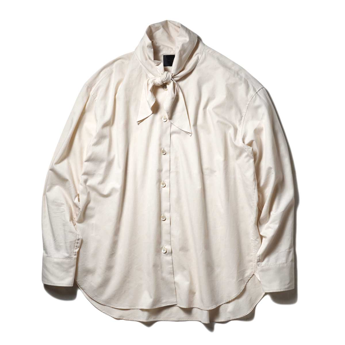 UNUSED / US2105 Ribbon Tie Shirt (Beige)