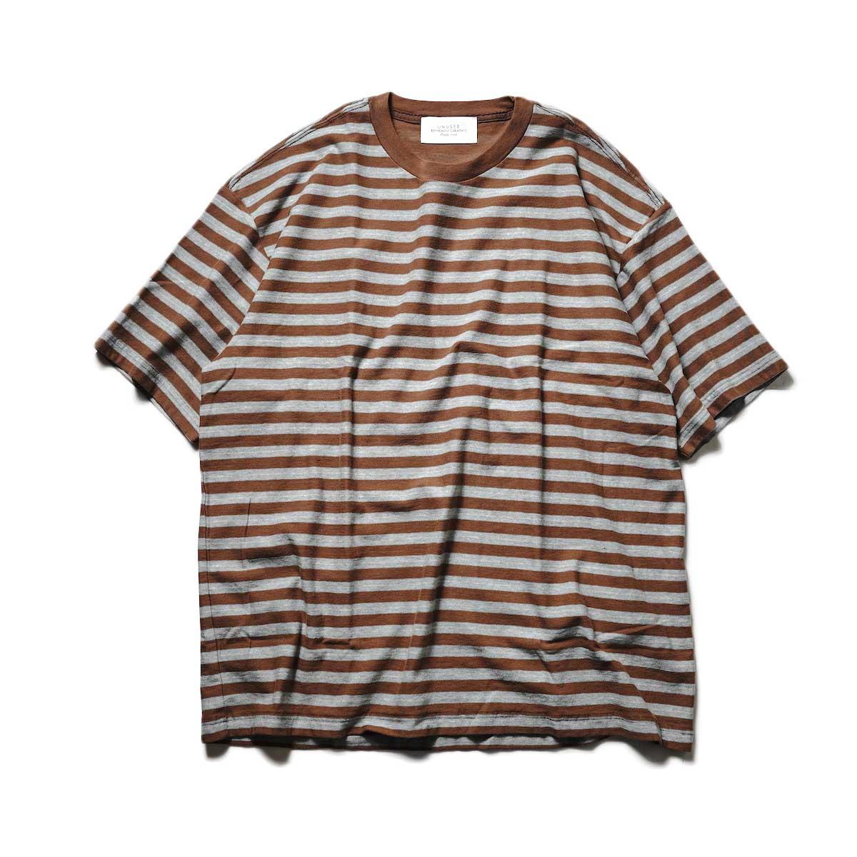 UNUSED / US2108 Border t-shirt (Brown × Sax)正面