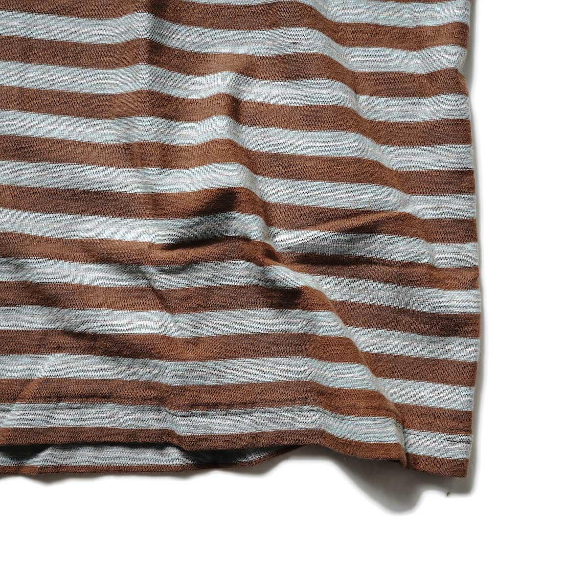 UNUSED / US2108 Border t-shirt (Brown × Sax)裾